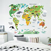 newest cartoon animals world map home decal wall sticker for kids room baby nursery bookstore lovely decoration stickers