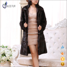 Wholesale Detachable Length Factory Natural Brown Real Mink Fur Coats Low Price from China