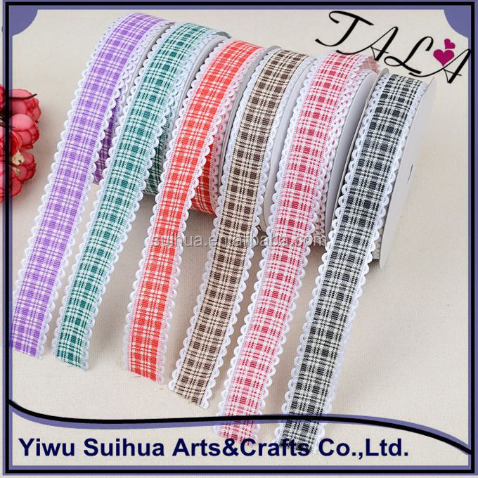 Wholesale polyester plaid tartan ribbon