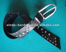 Black PU leather belt with metal rivets