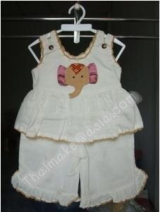 Thai Knitwear Baby clothing , infant wear elephant paint white color