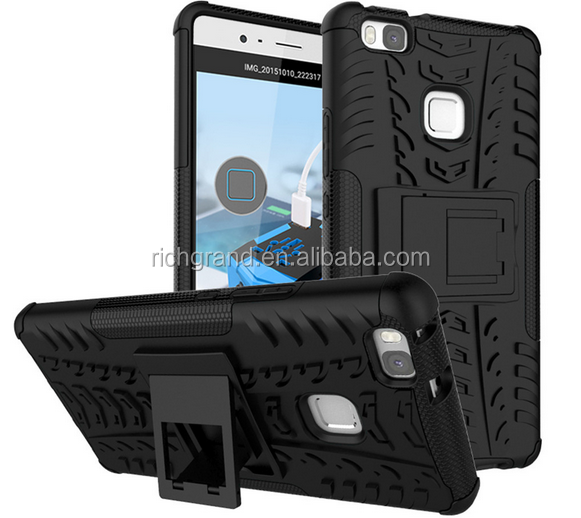 TPU + PC Dual Armor Cover with KickStand Hard Shock Proof Anti-Skid Case For Huawei P9 Lite