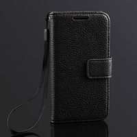 Business style Lichee skin luxury genuine leather flip wallet cover case for samsung galaxy s4 mini purse cover