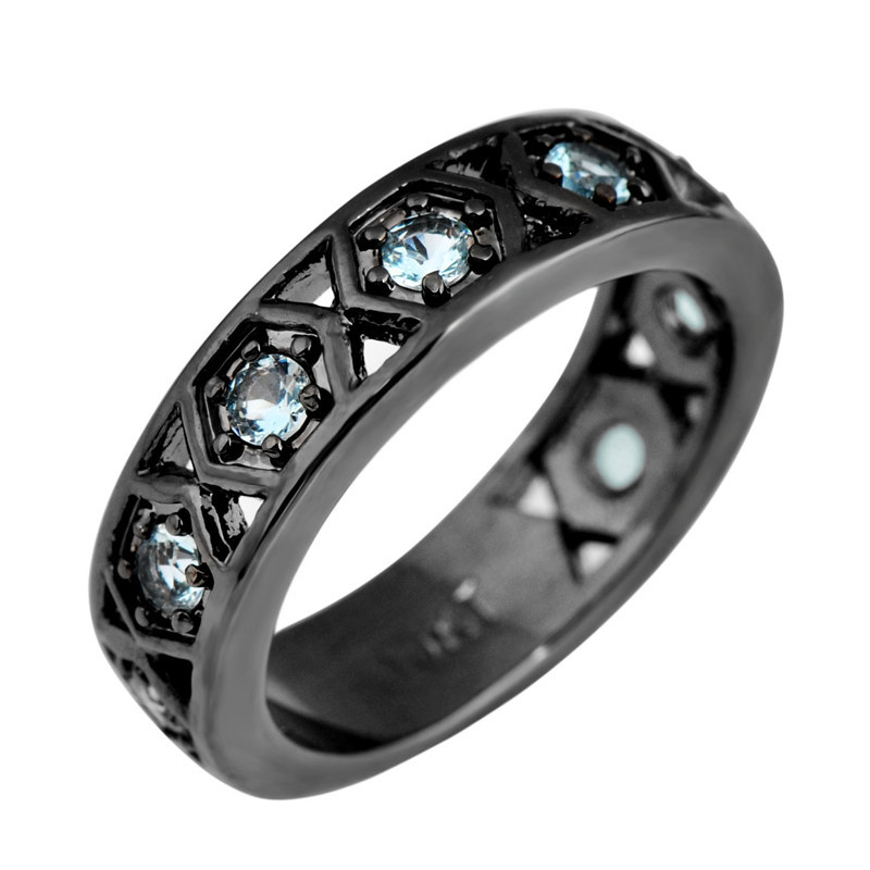Get Quotations Punk Women Men Vintage Ring Anel Fashion Aquamarine Sapphire Jewelry Black Gold Filled Wedding Hollow
