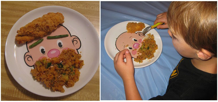 smiley plate food face diy dish parent-child plate