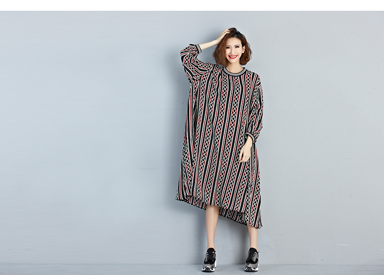Spring autumn plus sizes striped printed maxi dress XXX fat women clothes casual chiffon wear
