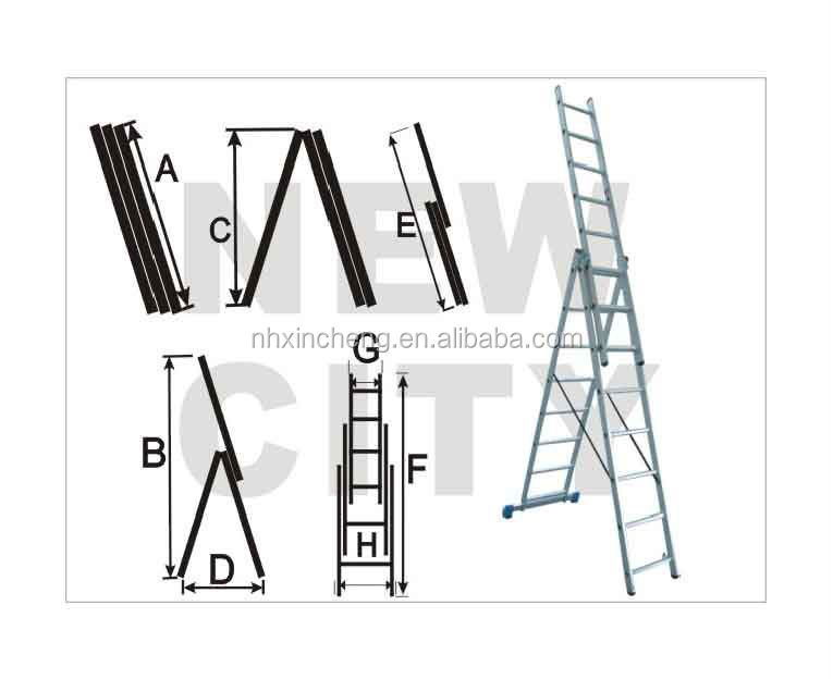 3*7 style three section aluminum extension ladder with EN131 CE