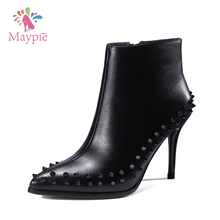 New Fashion Ladies Rivets High Stiletto Pointed Toe Zipper Ankle Footwear Wide Calf Mexican Western Boots