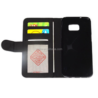 Blank Sublimation PU Wallet Leather Mobile Phone Credit Card Holder Case For Samsung Galaxy S7 Edge