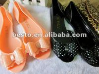 hot sell ladies pvc jelly flower shoes