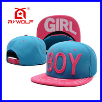 RZWOLF blue girl oem diy 3d embroidery logo snapback hats custom