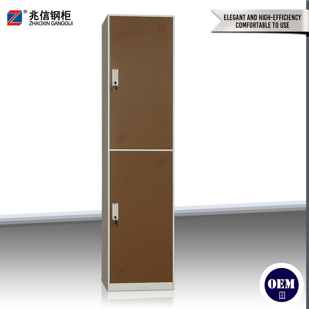 Stainless 2 vertical tier brown door wardrobe steel locker with export key lock wardrobe cabinet for changing room