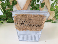 Home garden decorative linen zinc planter with handle