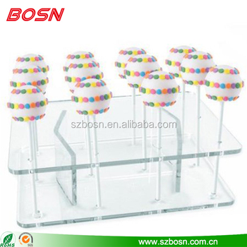 Wholesale clear acrylic lollipop display stand Perspex cake pop stand rack