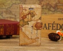 World Map Flip PU Leather Card Holder Case Skin Cover for iphone 5C