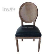 high back button tufted leather dining room chair