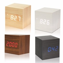 Wooden LED Alarm Clock With Thermometer Temp Date LED Display Calendars Electronic Desktop Digital Table Clocks For Gifts