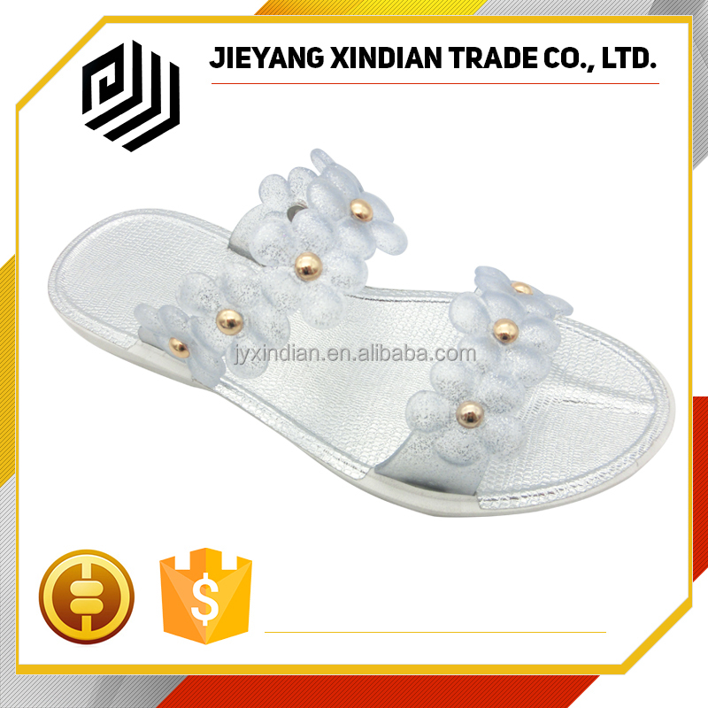 New Summer flower Lady flat plastic slippers women wholesale