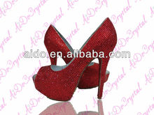 Passion Flush Red Crystal High Heels, Diamond Shoes, Platform Shoes
