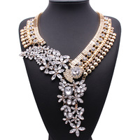Gold plated crystal flower statement necklaces bisuteria