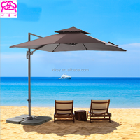 Large Windproof Round Square Side Standing Celi Baliness Outdoor Garden Patio Beach Parasol Umbrellas with marble base