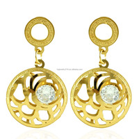 golden big round drop rose earrings gold filed iron piercing earrings, crystal in the middle