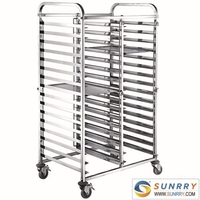 New Style stainless Steel Bakery Bread Racks And Folding Trolley Cart With Adjustable Wheels