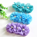 Triple Chiffon Flowers Matching Spark Rhinestone Buttons in Center DIY Accessory