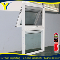 Hot sale ventilation bathroom awning window / australian standard as2047 top hung ventilation glass window