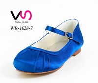 Royal blue flat dyeable satin bridal wedding shoes