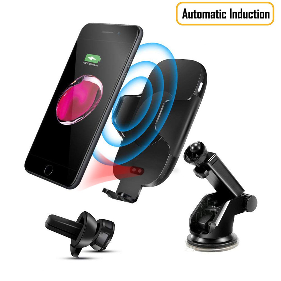 Free Sample 2 in 1 Infrared Fully Automatic Induction Air Vent Mount Phone Holder,C9 <strong>C10</strong> C11 Fast Charging Wireless Car Charger