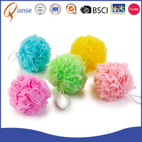 Customized wholesale multicolor body rubbing ball puff mesh loofah shower sponge PE mesh baby pouf bath sponge