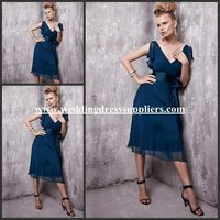 SD3309 Chiffon V-neck A Line Tea Length Ruffled Cocktail Dresses with Waistband