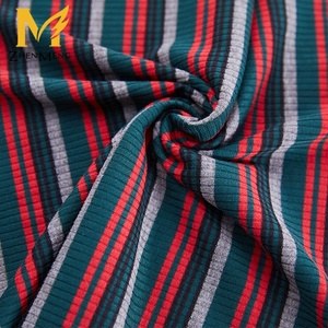 New Fashion multi-color engineering 80%polyester 15%rayon 5%spandex yarn dyed striped rib fabric