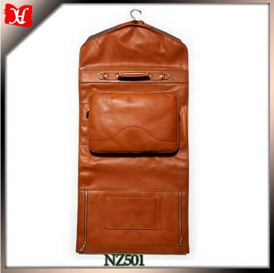 High Quality Men Leather Luxury Suit Carrier Garment Bag For Traveller Storage Usage Garment Bags For Dresses