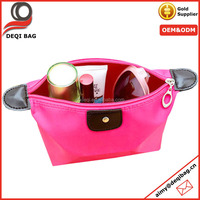 satin+pu leather red Dumpling shape wash bag storage cosmetic bag waterproof travel clutch bag