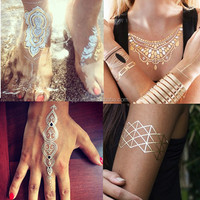 body jewelry temporary tattoo golden foil tattoo metallic temporary tattoo