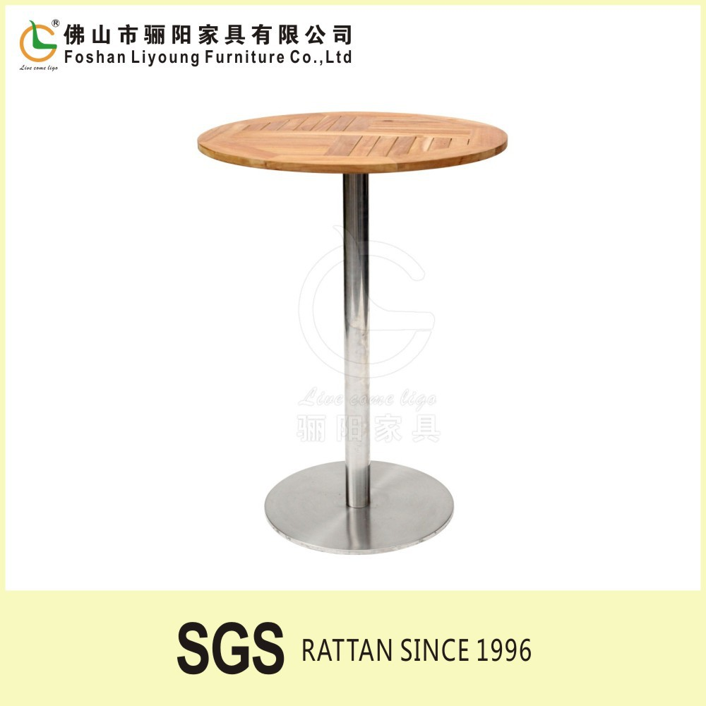 furniture factory outdoor garden used Modern plastic high topstainless steel wood bar table