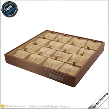 STR028 Leather Wooden Stackable Hot Sell Jewelry Display Tray for Ring
