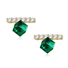Fashion 925 silver crystal 18k gold earrings