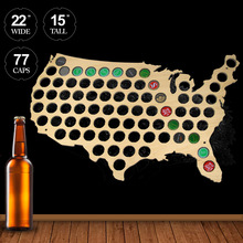 Customize Hanging Wooden Beer Cap Map Special Map Of USA For lover Beer Drinker Wooden Crafts Art Wall Decoration