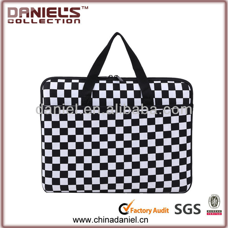 Black and white color laptop sleeve with handle