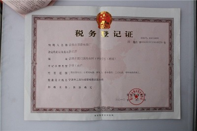 Certificate of Taxation Registration