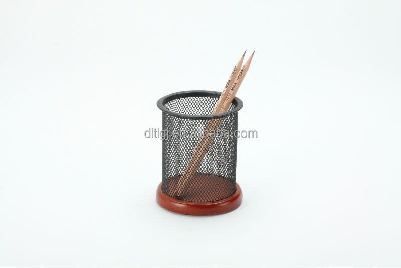 metal mesh pen/pencil holder/cup/pot with wood bottom B8341