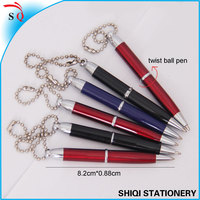 promotional ad metal twist mini ballpoint pen with chain