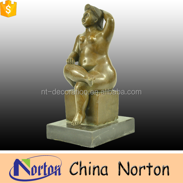 life size decorative fat bronze lady yoga sculpture NTBH-S763S