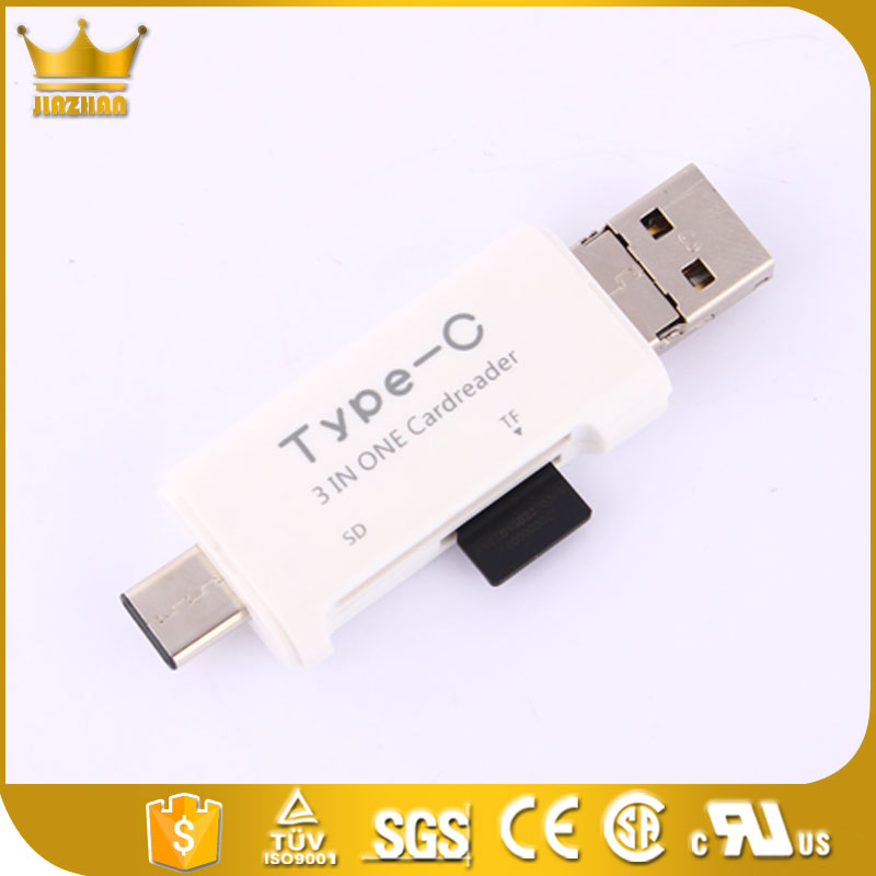 3 in 1 USB 3.1 Type-C to usb 2.0 memory card reader driver for Macbook Google Chromebook Nokia N1