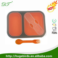 wholesale folding 2 compartment foldable silicone bento lunch box
