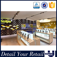 2016 Modern Style Bright LED Light Decoration High End Wooden Mobile Store Design