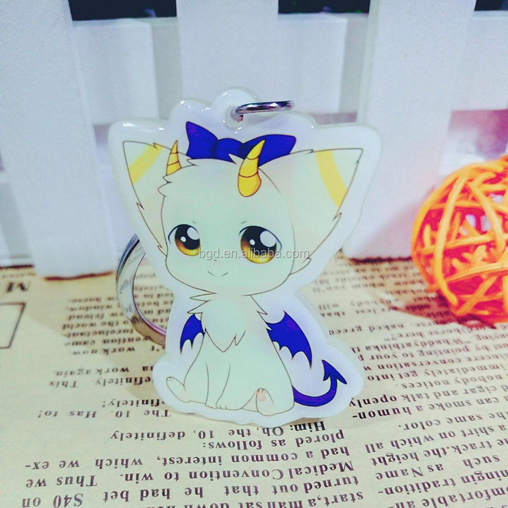 2017 Yiwu Vograce custom phone keychain various styles personalized engraved cartoon anime printed plastic keychains for girls